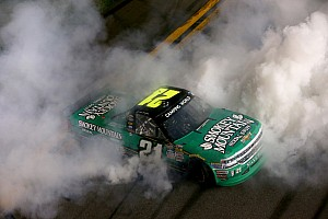 NASCAR Truck Race report Sauter wins Daytona Truck opener as Bell flips wildly on last lap