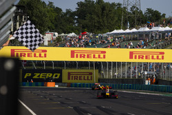 Pierre Gasly, PREMA Racing takes the chequered flag in front of team mate Antonio Giovinazzi, PREMA Racing