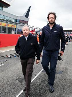 Jean Todt, FIA President on the grid with Matteo Bonciani, FIA Media Delegate