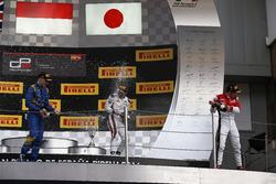 Charles Leclerc, ART Grand Prix, Jake Hughes, DAMS and Nirei Fukuzumi, ART Grand Prix