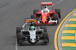 Nico Hulkenberg, Sahara Force India F1 and Sebastian Vettel, Ferrari SF16-H