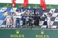 Le Mans Photos - Podium LMP3: race winners Thomas Laurent, Alexandre Cougnaud, DC Racing, second place Martin Brundle, Christian England, United Autosports, third place John Falb, Graff with Jackie Chan, actor