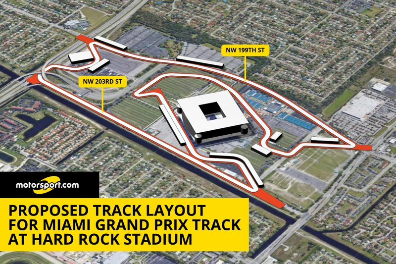Proposed track layout for Miami Grand Prix track at Hard Rock Stadium
