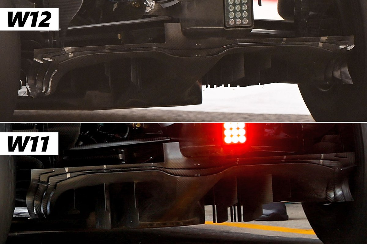 Comparacipon del difusor en el Mercedes W12 y el Mercedes W11.