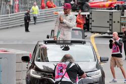 Race winner Lewis Hamilton, Mercedes AMG F1 celebrates after the podium