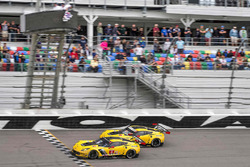 #4 Corvette Racing Chevrolet Corvette C7.R: Oliver Gavin, Tommy Milner, Marcel Fässler, #3 Corvette Racing Chevrolet Corvette C7.R: Antonio Garcia, Jan Magnussen, Mike Rockenfeller take the checkered flag