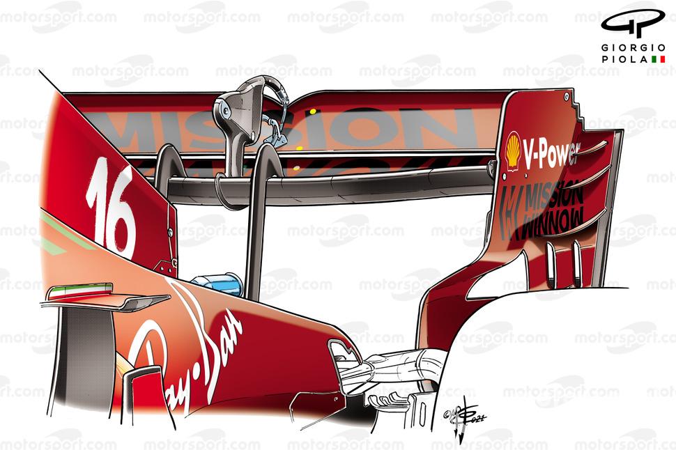 Ferrari SF21 rear wing FP1, Azerbaijan Grand Prix