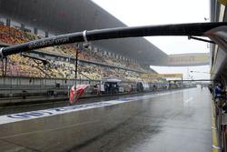 Rain in the pitlane