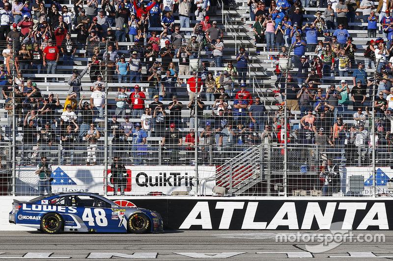 Race winner jimmie johnson hendrick motorsports chevrolet for Atlanta motor speedway light show