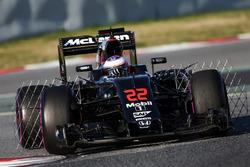 Jenson Button, McLaren MP4-31 running sensor equipment
