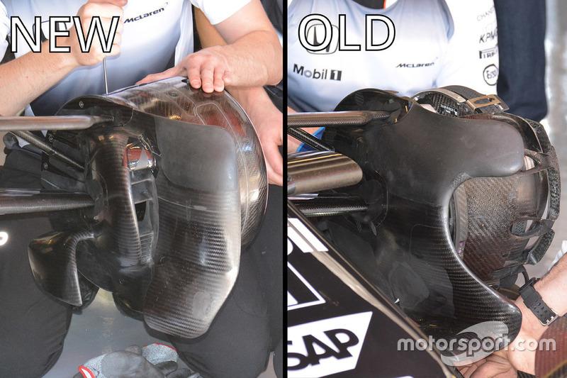 McLaren MP4-31 front brake ducts comparison