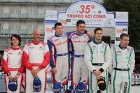 Campionato Italiano WRC Foto - Podio: al secondo posto Luca Pedersoli, Anna Tomasi, i vincitori Marco Signor, Patrick Bernardi, Sama Racing, al terzo posto Stefano Albertini, Danilo Fappani, Mirabella Mille Miglia