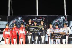 Overall podium: winners #58 Garage 59 McLaren 650S GT3: Rob Bell, Come Ledogar, Shane van Gisbergen, second place #50 AF Corse Ferrari 488 GT3: Pasin Lathouras, Michele Rugolo, Alessandro Pier Guidi, third place #3 Belgian Audi Club Team WRT Audi R8 LMS: Jan Magnussen, Filipe Albuquerque, Rodrigo Baptista