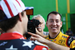 Kyle Busch and Travis Pastrana talk to the media
