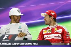 The post race FIA Press Conference: Lewis Hamilton, Mercedes AMG F1, race winner; Sebastian Vettel, Ferrari, third