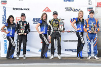 Pro Mazda Photos - Podium: race winner Pato O'Ward, Team Pelfrey, second place Garett Grist, Juncos Racing, third place Nicolas Dapero, Juncos Racing