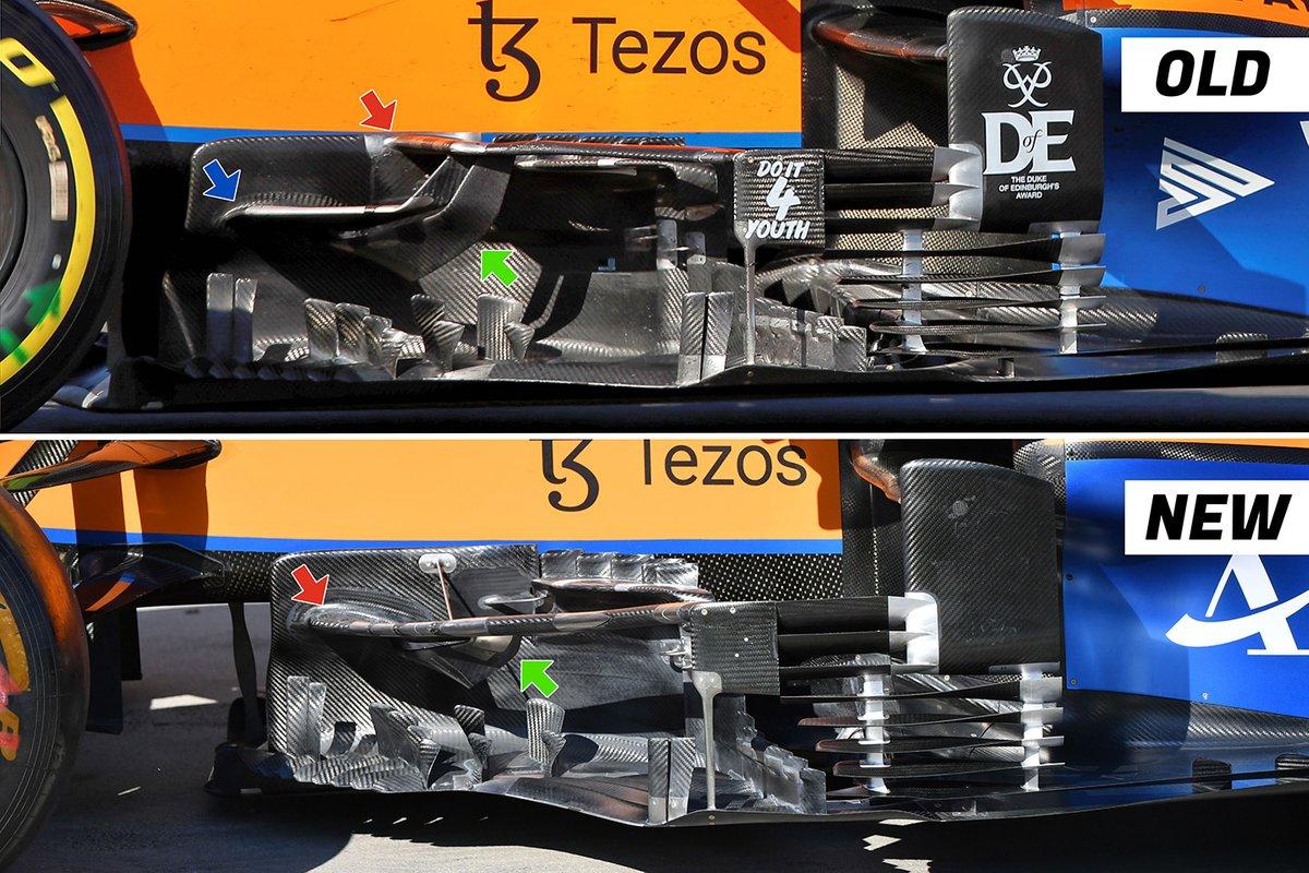 McLaren MCL35M bargeboard comparison