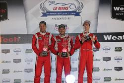 GT Le Mans Podium: first place #62 Risi Competizione Ferrari 488 GTE: Toni Vilander, Giancarlo Fisichella, James Calado