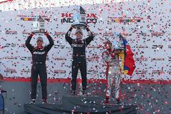 Podium: race winner Simon Pagenaud, Team Penske Chevrolet, second place Will Power, Team Penske Chevrolet, third place Carlos Munoz, Andretti Autosport Honda
