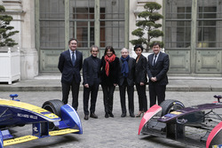 Alejandro Agag, Formula E CEO, Alain Prost, Renault e.Dams, Anne Hidalgo, mayor of Paris, Jean Todt, FIA president, Rachida Dati, 7th district of Paris mayor, Patrick Kanner, French Sports Minister