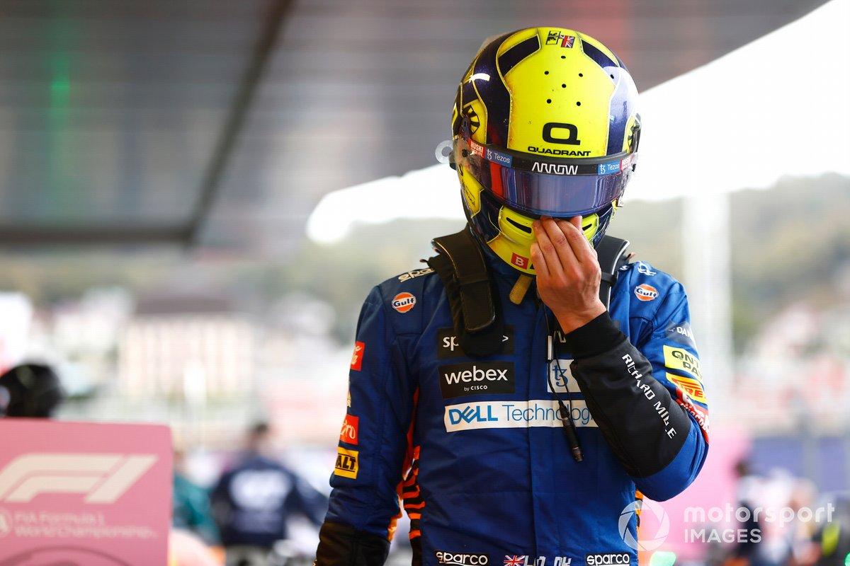 Lando Norris, McLaren, comiserates in Parc Ferme