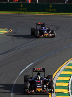 Carlos Sainz Jr., Scuderia Toro Rosso STR11 leads team mate Max Verstappen, Scuderia Toro Rosso STR11