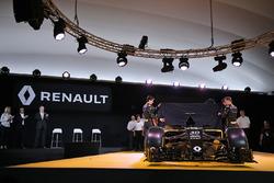 (L to R): Jolyon Palmer, Renault F1 Team, Esteban Ocon, Renault Sport F1 Team test driver and Kevin Magnussen, Renault F1 Team