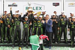 Winners Scott Sharp, Ed Brown, Johannes van Overbeek, Pipo Derani, ESM Racing celebrate