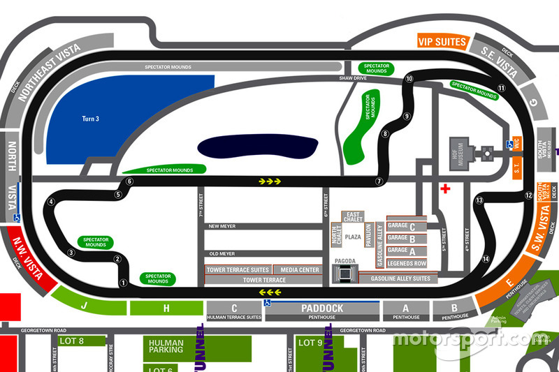 Infield Road Course Map At Grand Prix Of Indy