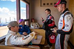 Competitors Romain Dumas, Rhys Millen, Nobuhiro Tajima (Monster), Paul Dallenbach, Raphaël Astier talking and eating after the race