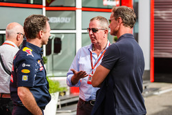 Christian Horner, Red Bull Racing Team Principal with Martin Brundle, Sky Sports Commentator and David Coulthard,  Red Bull Racing and Scuderia Toro Advisor / Channel 4 F1 Commentator