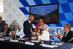 (L to R): Jean Todt, FIA President with Dr. Angelo Sticchi Damiani, Aci Csai President; Bernie Ecclestone and Roberto Maroni, Lombardia Region President, at a Monza circuit announcement