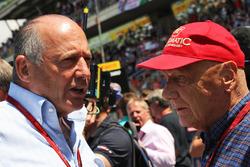 (L to R): Ron Dennis, McLaren Executive Chairman with Niki Lauda, Mercedes Non-Executive Chairman on the grid