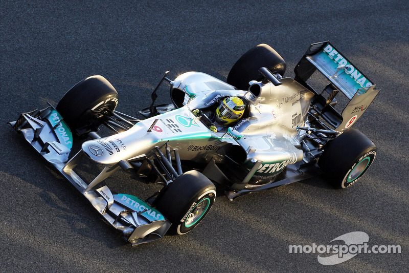 Rosberg began the first pre-season test for Mercedes