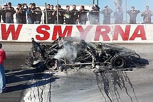 Jordan Ives survives fiery Super Late Model crash after brakes fail