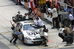 Championship points leader Dale Jarrett pits for service