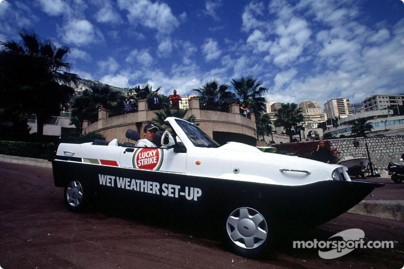 Olivier Panis with the amphibious car Dutton Commander