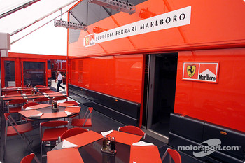 The Ferrari motorhome and hospitality suite, as if you were there