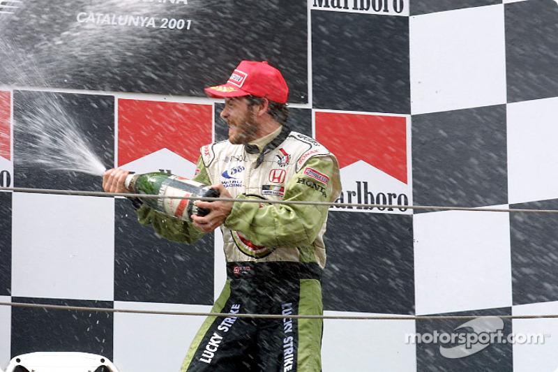 The podium: a happy Jacques Villeneuve