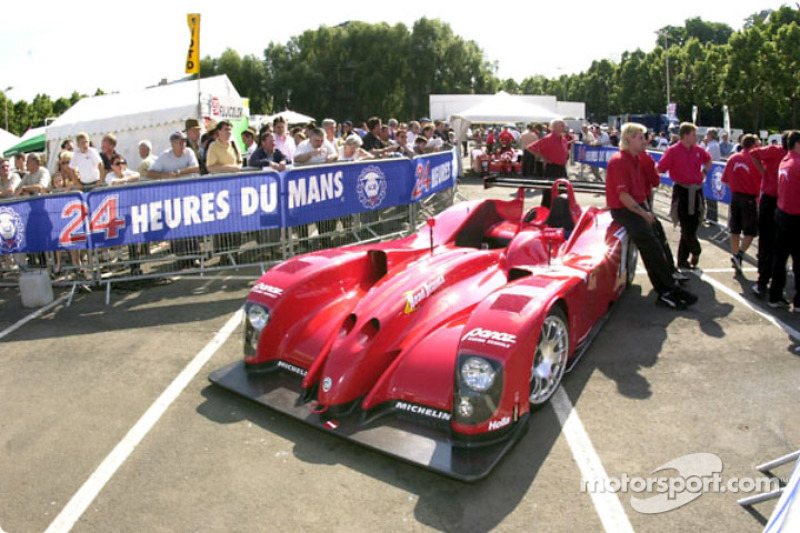 Waiting in tech line for Panoz Motor Sports