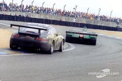A Courage C60-Peugeot and a Porsche 911 GT3R-S