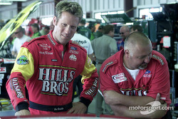 Brian Simo takes over the driving duties of the Hills Brothers Ford Taurus from the regular driver Hut Stricklin