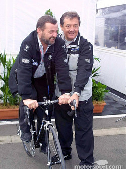 Paul Stoddart and Giancarlo Minardi with the new Minardi bike