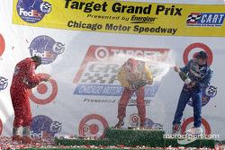The podium: Gil de Ferran, Kenny Brack and Patrick Carpentier