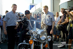 David Coulthard and Mika Hakkinen celebrating Jo Ramirez' birthday party