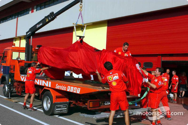 The Ferrari after Michael Schumacher's accident