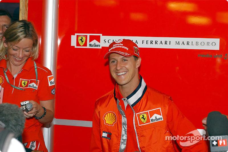 Michael Schumacher meeting the press on Thursday