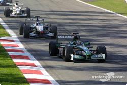 Eddie Irvine in front of Mika Hakkinen
