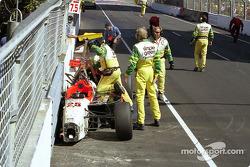Alex Barron's wrecked car