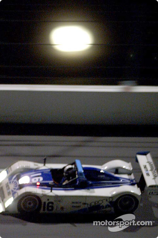 The #16 Dyson Racing Ford R&S races under the rising moon at Daytona enroute to victory in the Grand-Am season finale